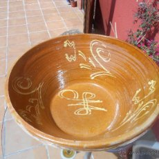 Antigüedades: ANTIGUO LEBRILLO DE BARRO COCIDO. 50CM X 21CM. Lote 49757547