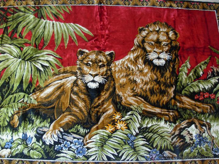 Antigüedades: Antiguo tapiz aterciopelado de leones. 1,73 cm X 1,17 CM - Foto 5 - 49758708