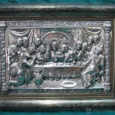 Antigüedades: SANTA CENA EN LAMINA DE COBRE PLATEADO.65X48 CM. Lote 49760888