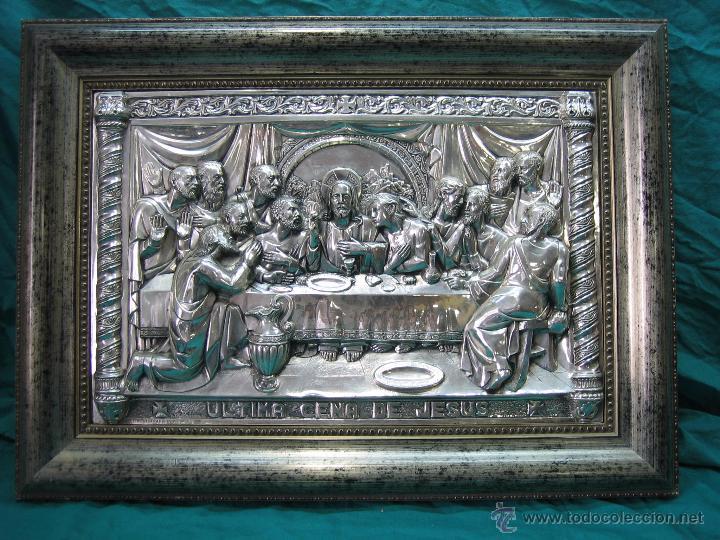 Antigüedades: Santa Cena en lamina de cobre plateado.65x48 cm - Foto 2 - 49760888