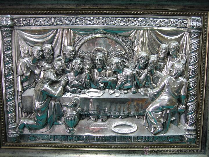Antigüedades: Santa Cena en lamina de cobre plateado.65x48 cm - Foto 3 - 49760888