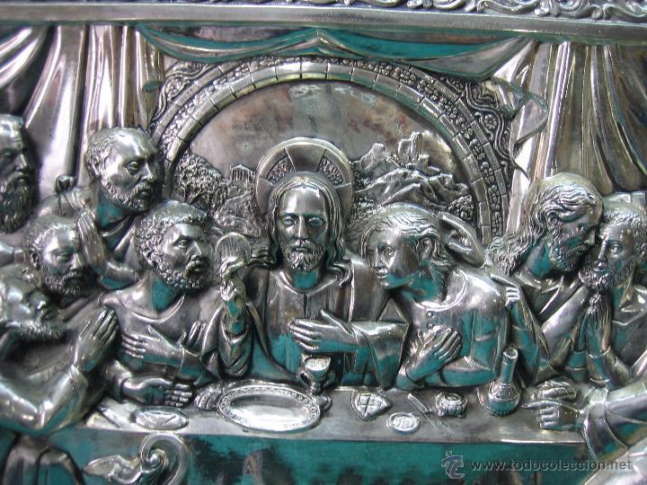 Antigüedades: Santa Cena en lamina de cobre plateado.65x48 cm - Foto 8 - 49760888