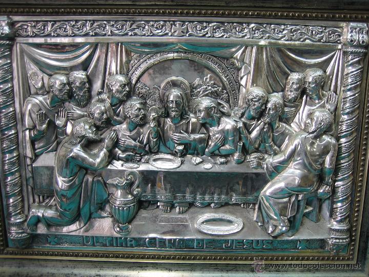 Antigüedades: Santa Cena en lamina de cobre plateado.65x48 cm - Foto 9 - 49760888