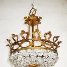 Antigüedades: PRECIOSA LAMPARA ISABELINA IDEAL HABITACION BRONCE DORADO. Lote 49776322