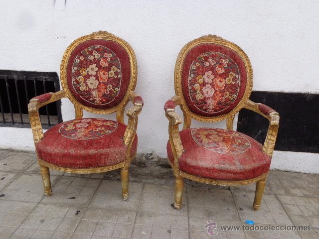 Muy antigua rara e impresionante pareja de sil comprar - Sillones antiguos para restaurar ...