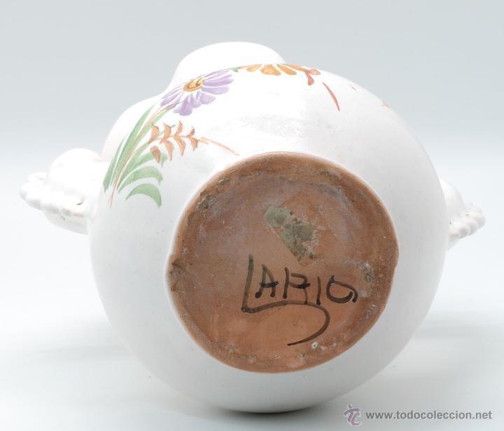 Antigüedades: Jarra novia Lorca cerámica Lario blanco con flores años 50 - Foto 5 - 49785062
