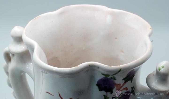 Antigüedades: Jarra novia Lorca cerámica Lario blanco con flores años 50 - Foto 7 - 49785062