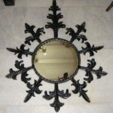 Antigüedades: ANTIGUO ESPEJO DE SOL O DE SOLES. FORJA. (65 CM X 53 CM). Lote 49788473