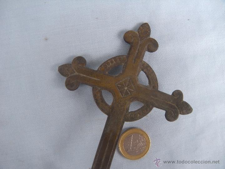 Antigüedades: ANTIGUA CRUZ PROCESIONAL EN BRONCE. - Foto 3 - 49793588