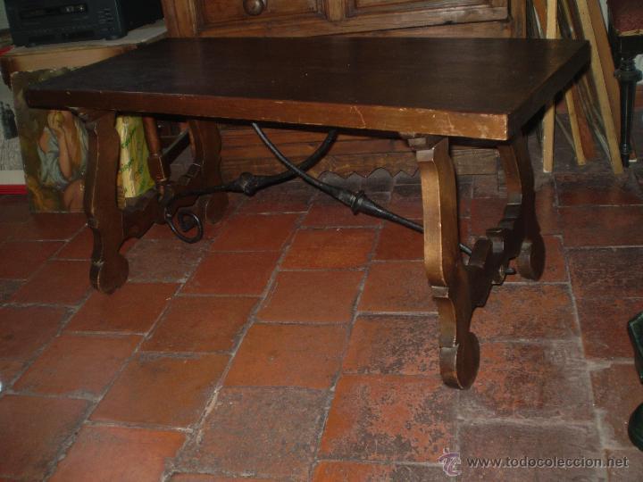 MESA CON PATAS DE LIRA DE PINO (Antigüedades - Muebles Antiguos - Mesas Antiguas)