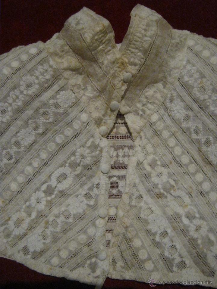 Antigüedades: ANTIGUA PECHERA CANESÚ DE ORGANZA BORDADA S. XIX - Foto 5 - 49840483