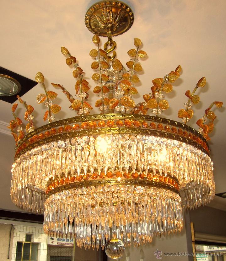 Antigüedades: MARAVILLOSA LAMPARA DE BRONCE CINCELADO Y CRISTAL TALLADO - Foto 2 - 49841499