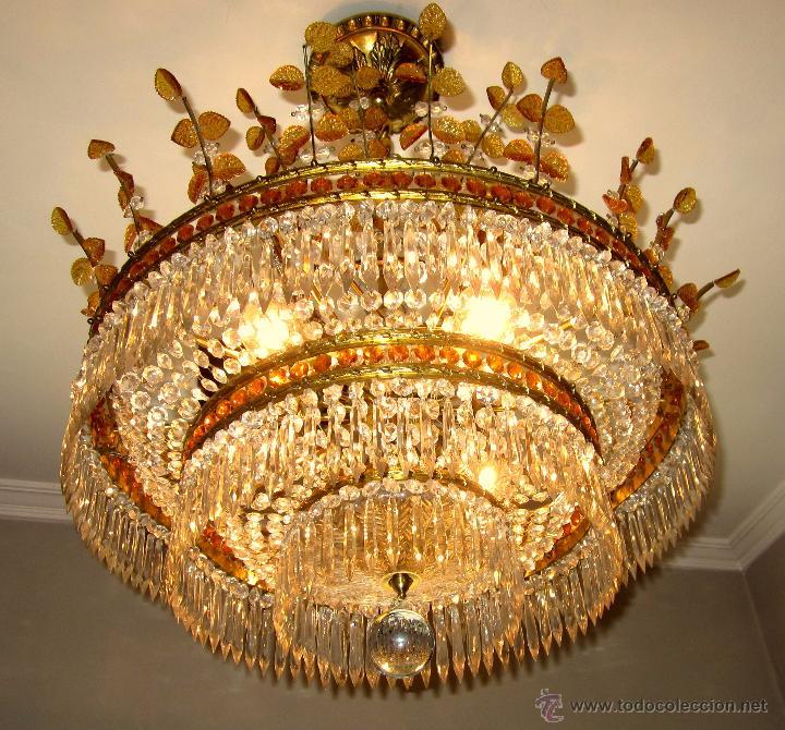 Antigüedades: MARAVILLOSA LAMPARA DE BRONCE CINCELADO Y CRISTAL TALLADO - Foto 3 - 49841499