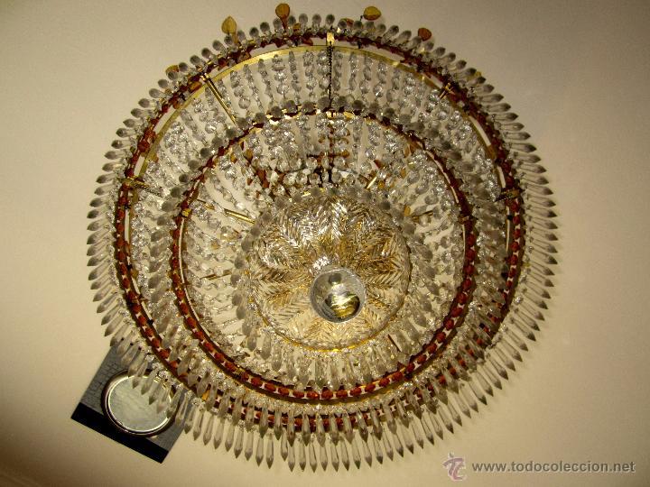 Antigüedades: MARAVILLOSA LAMPARA DE BRONCE CINCELADO Y CRISTAL TALLADO - Foto 4 - 49841499