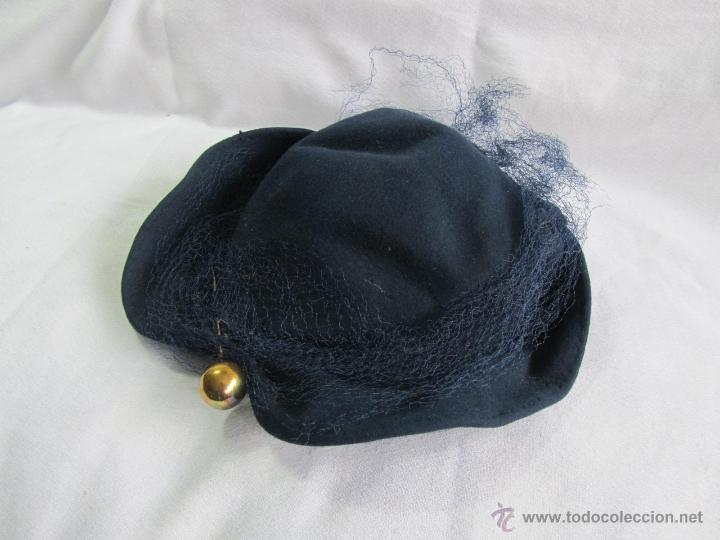 Antigüedades: Antiguo sombrero de señora con alfiler dorado - Foto 2 - 49853455