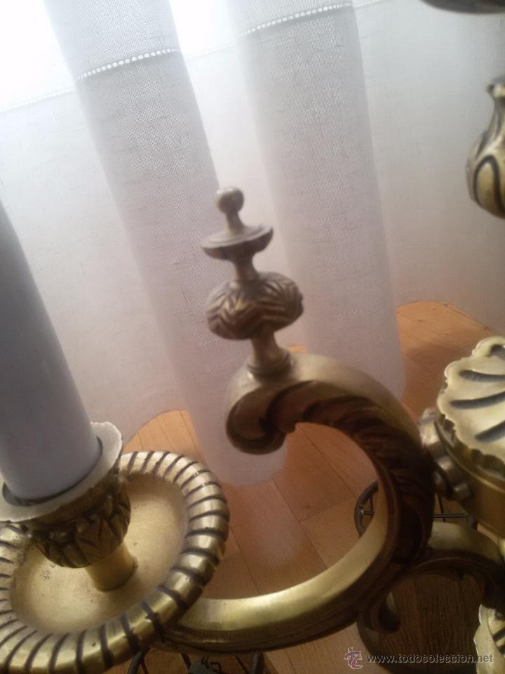 Antigüedades: CANDELABRO EN BRONCE MACIZO-LABRADO-EXCELENTE FUNDICIÓN-DOS PISOS Y 4 LUCES-MUY ANTIGUO-TULIPAS PIEL - Foto 11 - 49859295