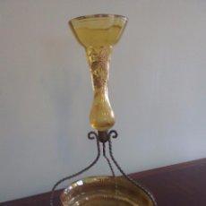 Antigüedades: CENTRO DE CRISTAL FINO CON DETALLES DORADOS. Lote 49864170
