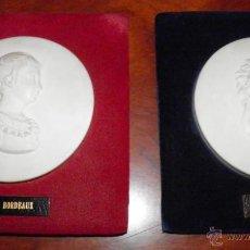 Antigüedades: DOS MEDALLONES BISCUIT SEVRES, 95 MM. MARIA ANTONIETA Y DUQUE DE BORDEAUX. Lote 49866840