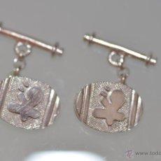 Antigüedades: GEMELOS DE PLATA DE LEY , DE DISEÑO TIPO MIRÓ. Lote 49872381