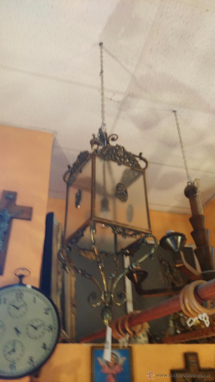 Antigüedades: FAROL DE BRONCE Y CRISTAL - Foto 2 - 36990418