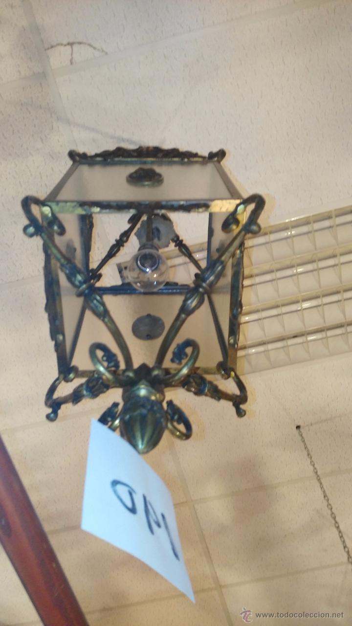 Antigüedades: FAROL DE BRONCE Y CRISTAL - Foto 3 - 36990418