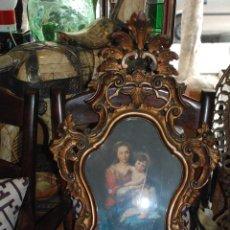Antigüedades: MUY BONITA CORNUCOPIA DE MADERA CON LÁMINA ANTIGUA. Lote 49895036