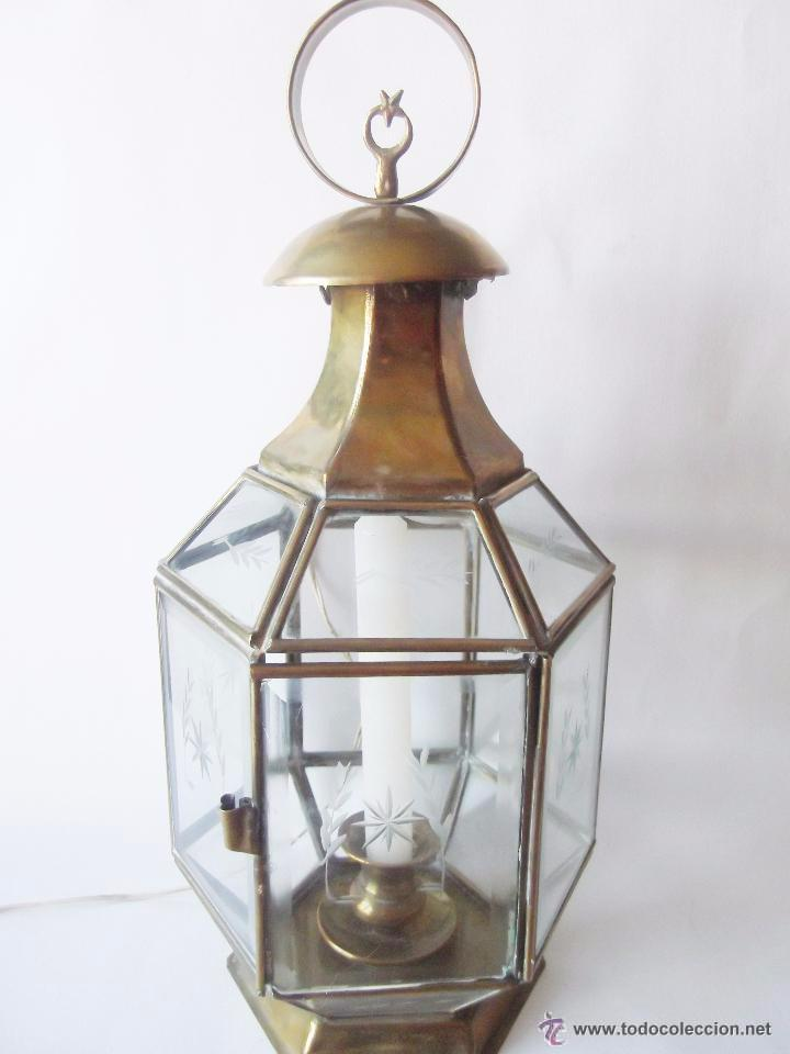 Antigua lampara farol electrificado cristal gr comprar - Lamparas cristal antiguas ...
