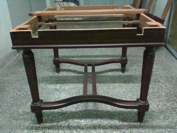 Antigüedades: MESA CAOBA EXTENSIBLE DE COMEDOR PARA RESTAURAR - Foto 5 - 49928103