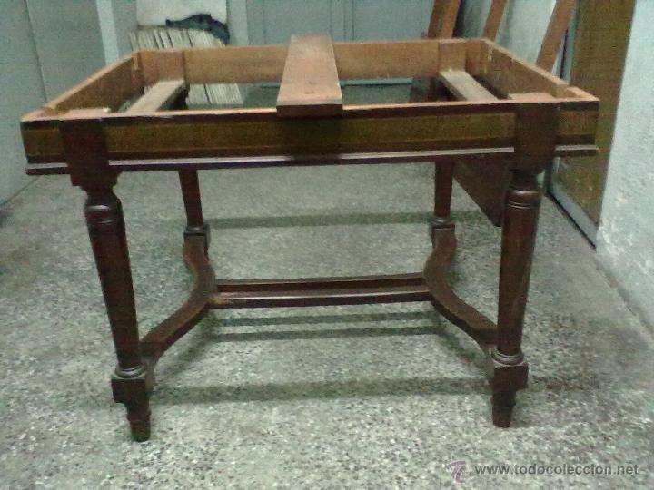 Antigüedades: MESA CAOBA EXTENSIBLE DE COMEDOR PARA RESTAURAR - Foto 6 - 49928103