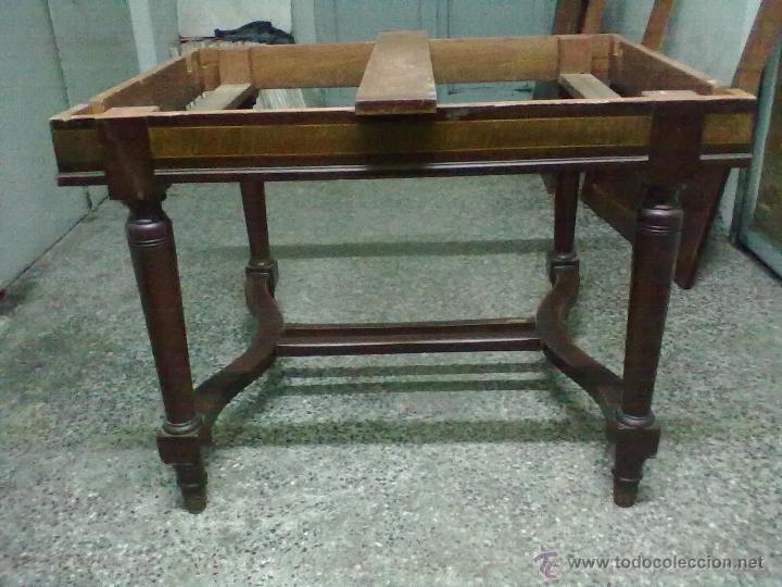 Antigüedades: MESA CAOBA EXTENSIBLE DE COMEDOR PARA RESTAURAR - Foto 8 - 49928103
