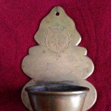 Antigüedades: PRECIOSA Y ANTIGUA BENDITERA EN BRONCE LABRADO. Lote 49956068