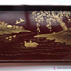 Antigüedades: GRAN BANDEJA LACADA JAPONESA S XIX . Lote 49994378