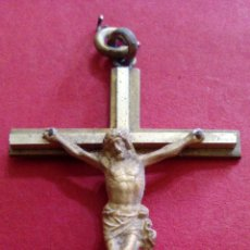 Antigüedades: CRUCIFIJO METAL DORADO. Lote 49995485