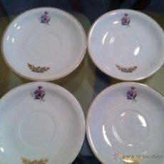Antigüedades: LOTE DE 4 BONITOS PLATOS DE PORCELANA PARA EL CAFÉ (CREO) PLATITOS. Lote 50022660