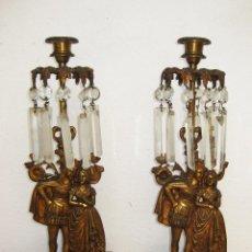 Antigüedades: ELEGANTES LAMPARAS CANDELABROS FRANCESES ORIGINALES XIX EN BRONCE DORADO MARMOL Y CRISTAL . Lote 50032222