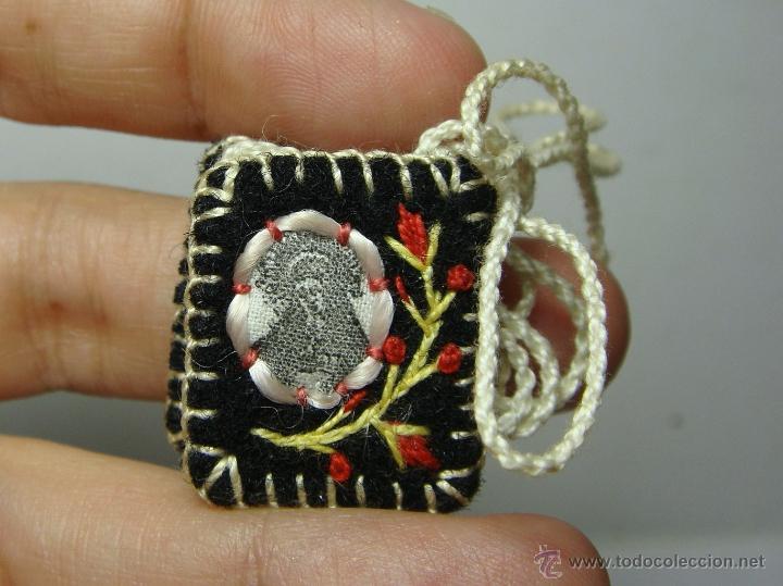 Antigüedades: Antiguo Escapulario. Hecho a Mano. Virgen. - Foto 2 - 50033304