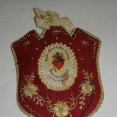 Antigüedades: ANTIGUO ESCAPULARIO O DETENTE. S.XIX. SEDA. HECHO A MANO.. Lote 50034101