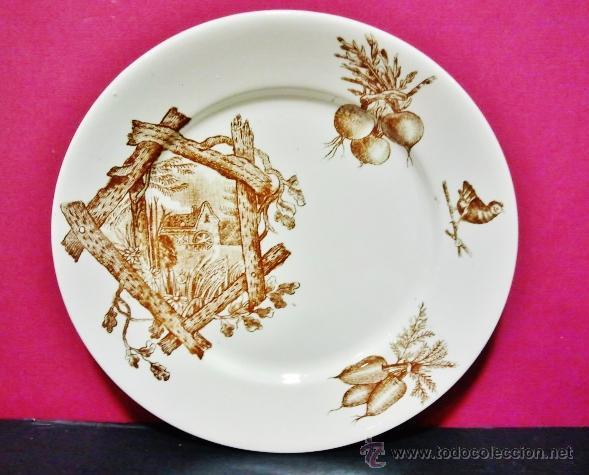 Antigüedades: Juego de 6 platos de postre de Mariano Pola y Cía, Gijón. - Foto 2 - 50044263