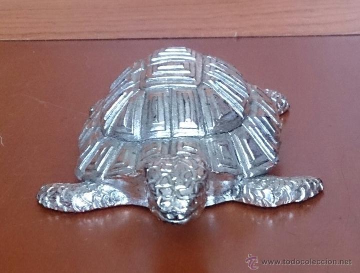 Antigüedades: Bella figura de tortuga en plata de ley Italiana laminada y contrastada en la base . - Foto 3 - 50055979