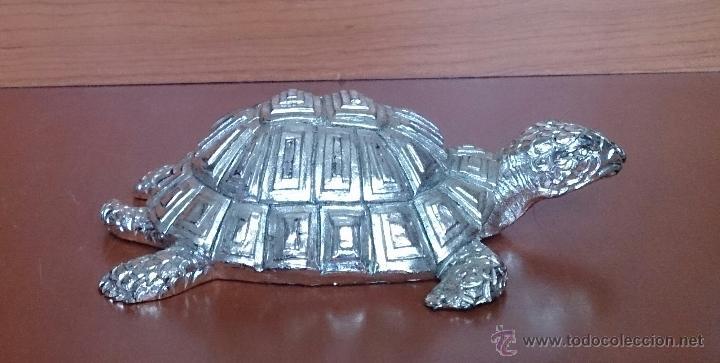 Antigüedades: Bella figura de tortuga en plata de ley Italiana laminada y contrastada en la base . - Foto 5 - 50055979