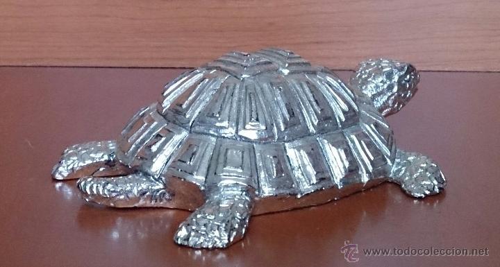 Antigüedades: Bella figura de tortuga en plata de ley Italiana laminada y contrastada en la base . - Foto 6 - 50055979