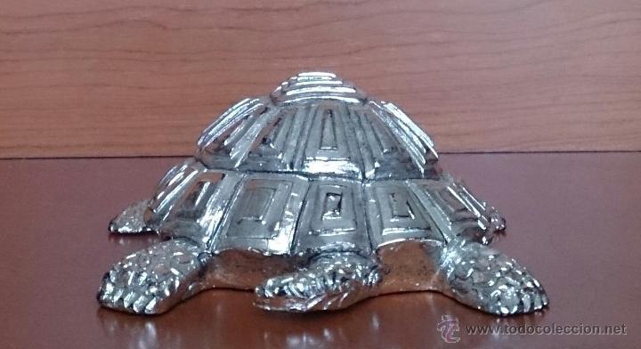 Antigüedades: Bella figura de tortuga en plata de ley Italiana laminada y contrastada en la base . - Foto 7 - 50055979