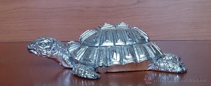 Antigüedades: Bella figura de tortuga en plata de ley Italiana laminada y contrastada en la base . - Foto 9 - 50055979