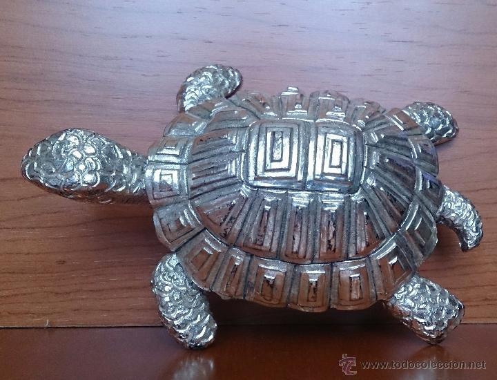 Antigüedades: Bella figura de tortuga en plata de ley Italiana laminada y contrastada en la base . - Foto 10 - 50055979