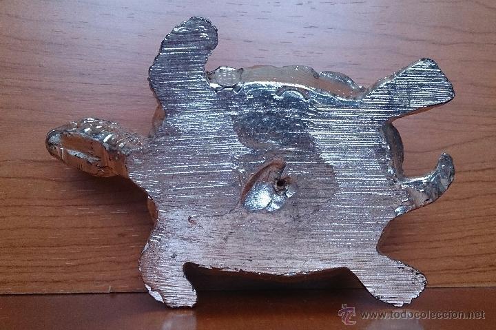 Antigüedades: Bella figura de tortuga en plata de ley Italiana laminada y contrastada en la base . - Foto 11 - 50055979