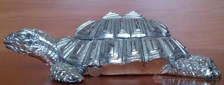 Antigüedades: Bella figura de tortuga en plata de ley Italiana laminada y contrastada en la base . - Foto 13 - 50055979