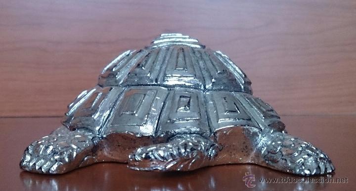 Antigüedades: Bella figura de tortuga en plata de ley Italiana laminada y contrastada en la base . - Foto 14 - 50055979