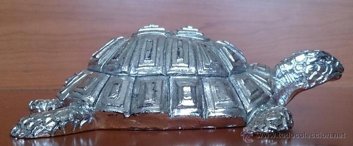 Antigüedades: Bella figura de tortuga en plata de ley Italiana laminada y contrastada en la base . - Foto 15 - 50055979