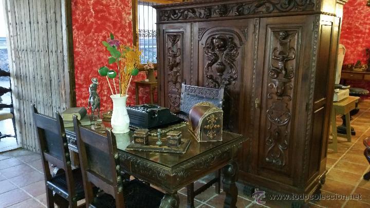 DESPACHO TALLADO (Antigüedades - Muebles Antiguos - Mesas de Despacho Antiguos)