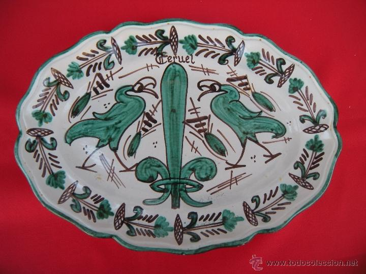 BONITA FUENTE PLATO DE TERUEL FIRMADA PUNTER (Antigüedades - Porcelanas y Cerámicas - Teruel)